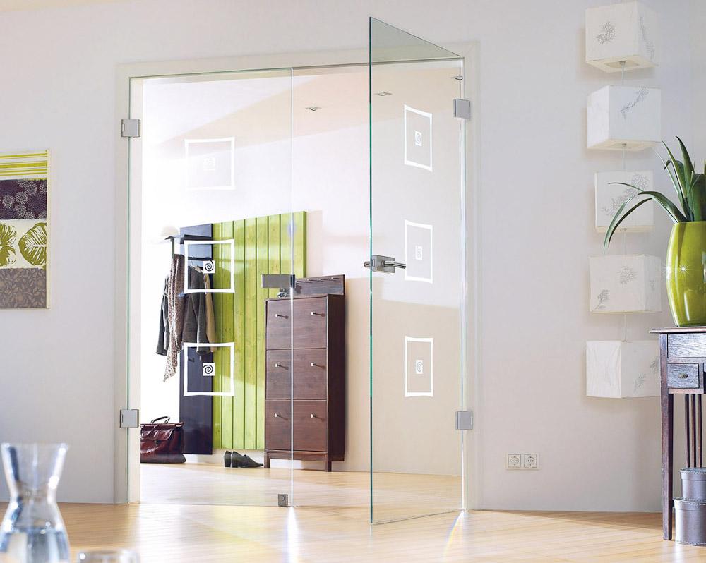 zweifl gelige klarglas t r mit matten quadratischen dekorelementen bauwiki